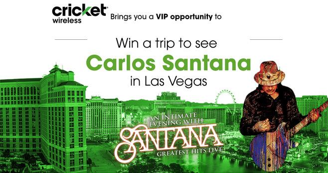 Cricket Wireless Carlos Santana Up Close and Personal Flyaway Sweepstakes
