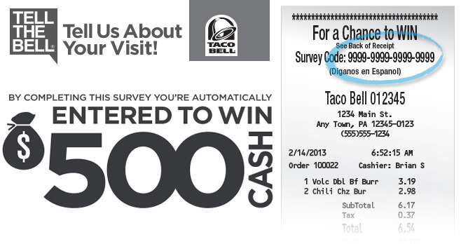 Taco Bell Survey Sweepstakes 2017