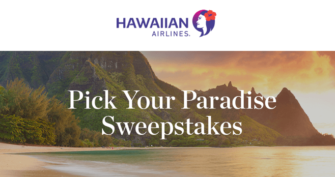 Hawaiian Airlines Pick Your Paradise Sweepstakes