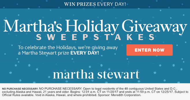 Martha Stewart Holiday Giveaway Sweepstakes 2017