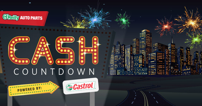O'Reilly Auto Parts Cash Countdown Sweepstakes 2017