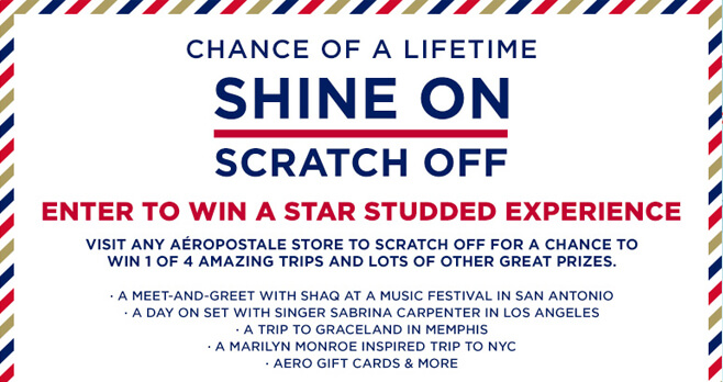 Aeropostale Shine On Scratch Off Sweepstakes