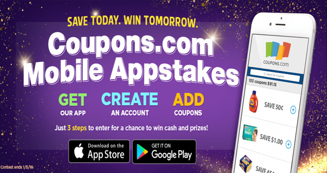 Coupons.com Mobile Appstakes Sweepstakes
