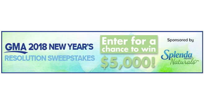 Good Morning America 2018 New Year's Resolutions Sweepstakes