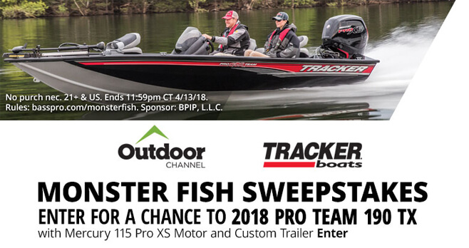 Bass pro shops monster fish sweepstakes 2018 for Bass pro monster fish