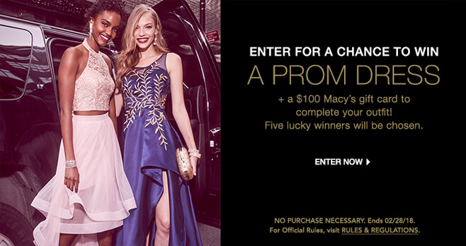 Macy's Free Prom Dress Sweepstakes 2018