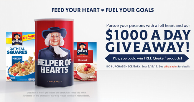 Quaker Oats Feed Your Heart Instant Win Game 2018 (QuakerHeartHealth.com)