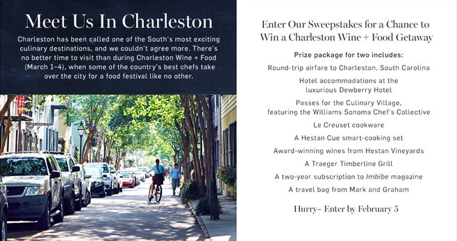 Williams Sonoma Trip to Charleston Wine + Food Sweepstakes 2018