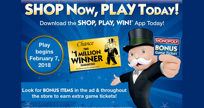 Safeway SHOP, PLAY, WIN Monopoly 2018 (ShopPlayWin.com)