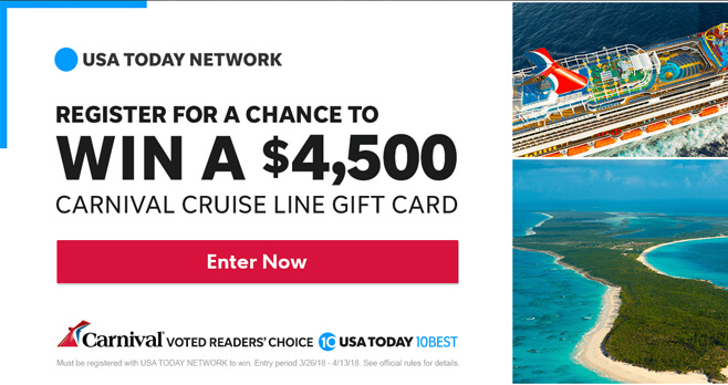 USA Today Network Win a Carnival Cruise Sweepstakes