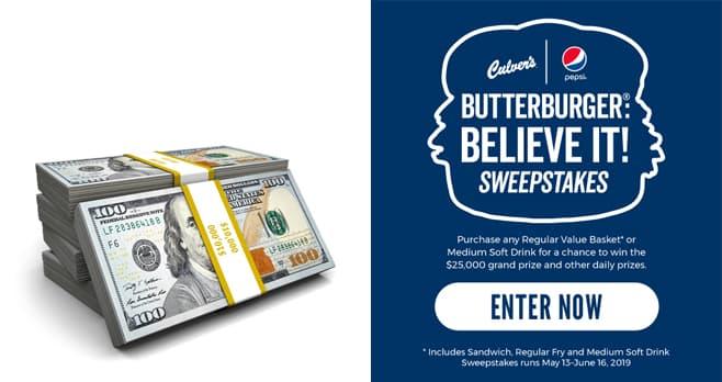 Culver's ButterBurger Believe It Sweepstakes (ButterBurgerBelieveIt.com)