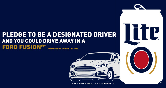 Miller Lite Designated Driver Pledge Sweepstakes 2018