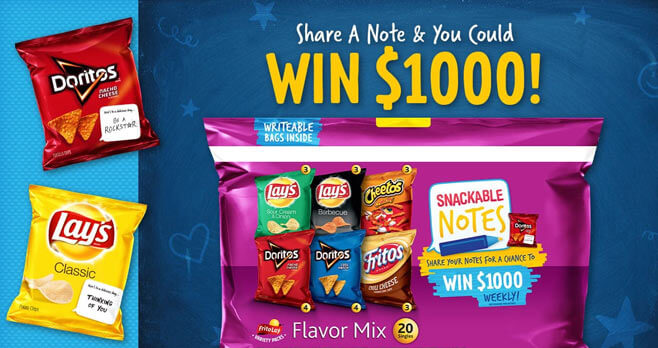 Frito Lay Variety Pack Snackable Notes Sweepstakes