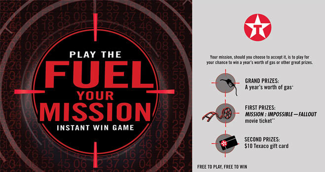 Texaco Mission Impossible Fallout Fuel Your Mission Instant Win Game