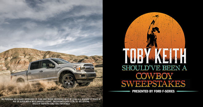 win your choice of a new ford truck toby keith sweepstakes. Black Bedroom Furniture Sets. Home Design Ideas