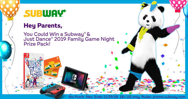Subway & Just Dance 2019 Family Game Night Sweepstakes