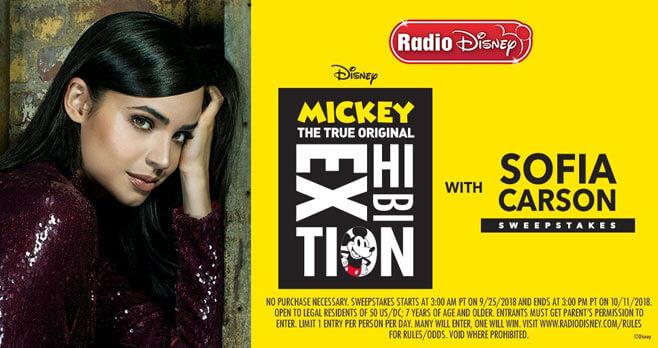 Radio Disney Mickey: The True Original Exhibition with Sofia Carson Sweepstakes