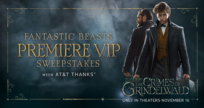Fantastic Beasts Premiere VIP Sweepstakes