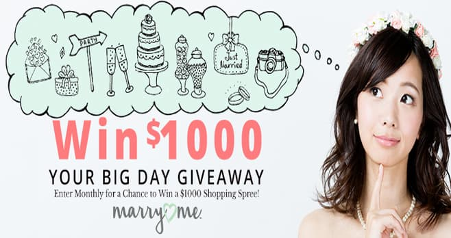 Marry Me by Oriental Trading Your Big Day $1,000 Monthly Giveaway