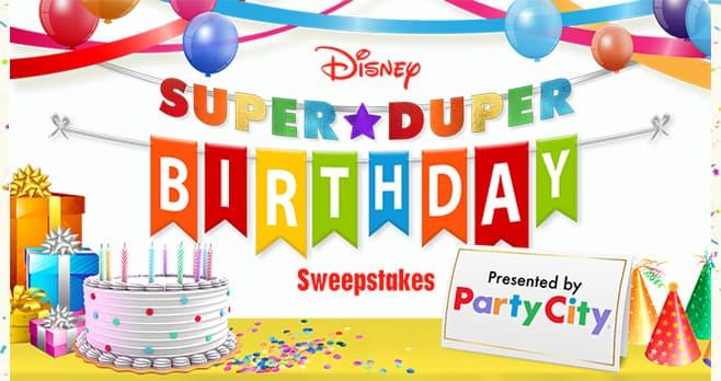 Disney Party City Super Duper Birthday Sweepstakes (SuperDuperBirthday.com)