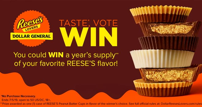 Dollar General Reese's Lovers Sweepstakes (DollarReesesLovers.com)