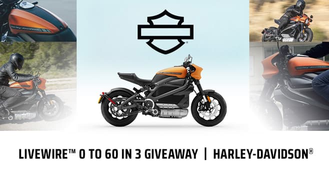 Harley-Davidson Livewire 0 to 60 in 3 Giveaway