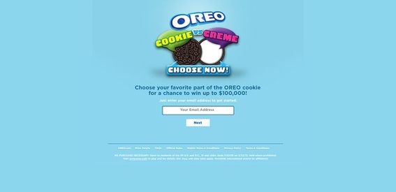 Oreo.com – OREO Cookie vs. Crème Game Sweepstakes
