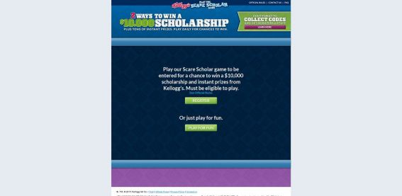 scarescholar.com – Kellogg's Monsters University Scare Scholar Instant Win Game and Sweepstakes