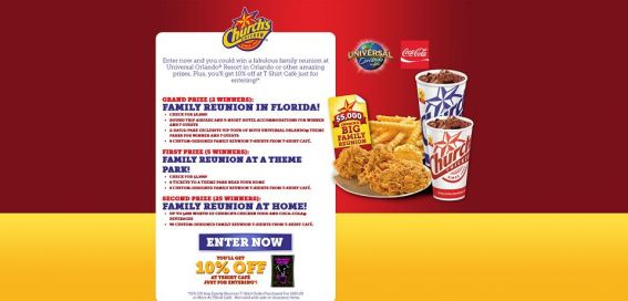 churchsfamilyreunion.com – Church's Chicken Family Reunion Peel and Win