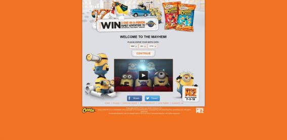 cheetosoneinaminion.com – One-in-a-Minion Family Vacation Sweepstakes