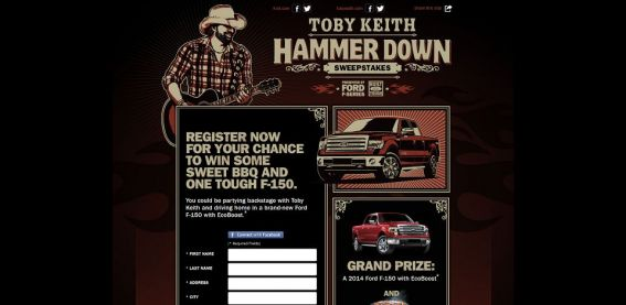 tobykeith.com/ford – Toby Keith Hammer Down Tour Sweepstakes