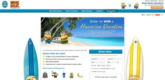 Minions Beach Sweepstakes