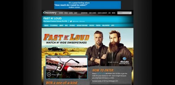 fastnloudsweeps.com – Fast N' Loud Watch N' Ride Sweepstakes