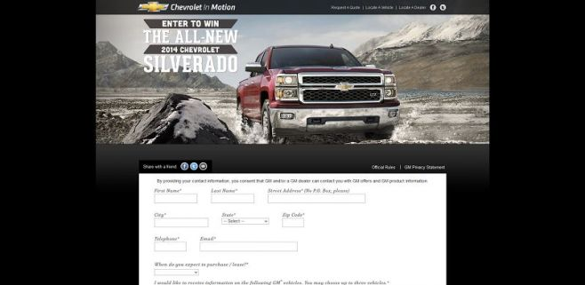 chevyinmotion.com – 2014 Chevrolet Silverado Vehicule Giveaway Sweepstakes