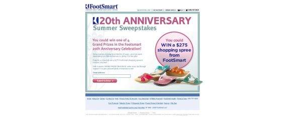 FootSmart 20th Anniversary Summer Sweepstakes