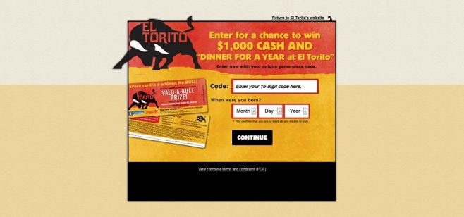 eltorito.com/sweepstakes – El Torito Loyalty VALU-A-BULL Prize Promotion