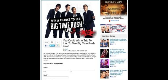 Big Time Rush Sweepstakes