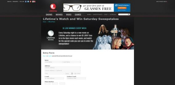 mylifetime.com/win – Lifetime Saturday Night Movie Watch & Win Sweepstakes