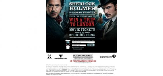 Hardee's Sherlock Holmes: A Game of Shadows London Trip Giveaway