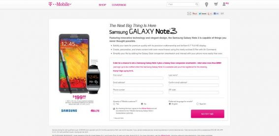 T-Mobile Samsung Galaxy Note 3 Sweepstakes
