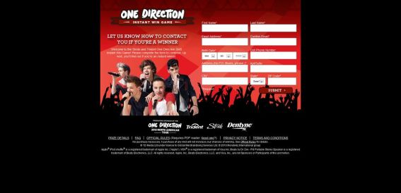 1Dsummersweeps.com – One Direction Instant Win Game