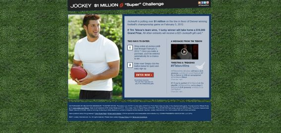 Tim Tebow $1,000,000 Super Challenge Sweepstakes