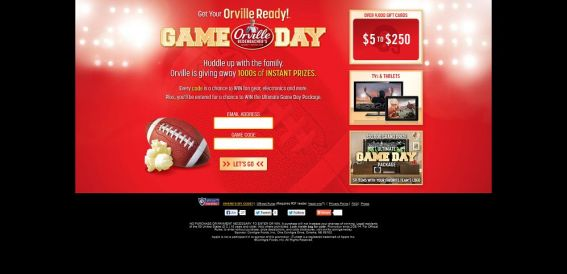 orville.com/gameday – Get Your Orville Ready Sweepstakes and Instant Win Game