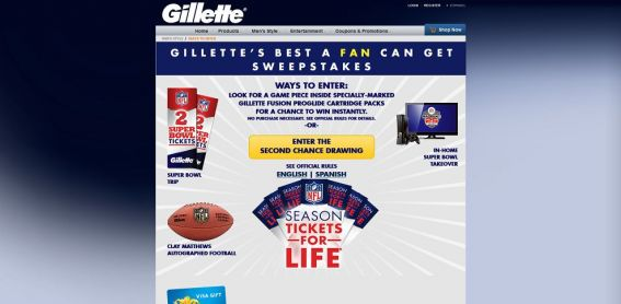 gillette.com/BestAFanCanGet – Gillette The Best A Fan Can Get Sweepstakes