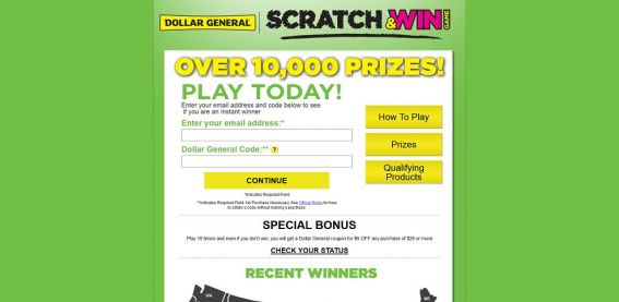 www.dgscratchandwin.com – Dollar General Scratch & Win Game