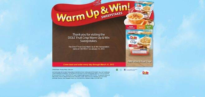 warmup.dole.com – Dole Fruit Crisp Warm Up & Win Sweepstakes