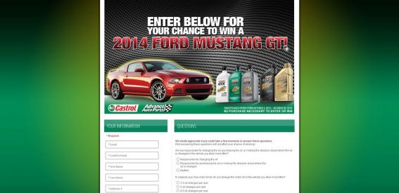 Castrol Advance Mustang Sweepstakes