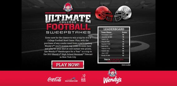 wendys.com/football – Coca-Cola & Wendy's Ultimate College Football Sweepstakes