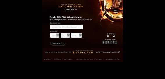 cokecatchingfire.com – The Hunger Games: Catching Fire Instant Win Game