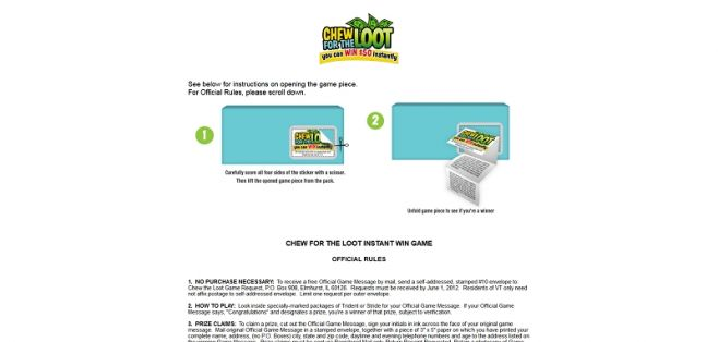 chew4loot.com – Chew For The Loot Instant Win Game